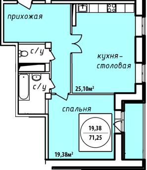 Планировка Однокомнатная квартира площадью 71.25 кв.м в ЖК «Дворянский дом»